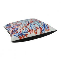 Large velvet cushion cover with blue and orange nature design