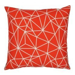 45x45cm velvet cushion cover with geometric design in red and white colours