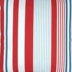 Close up of blue red and white cushion with stripes