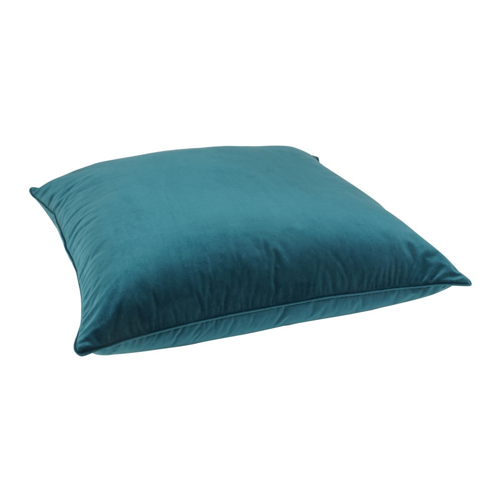 Large shiny teal velvet floor cushion