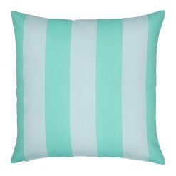 White and teal cushion cover with stripes