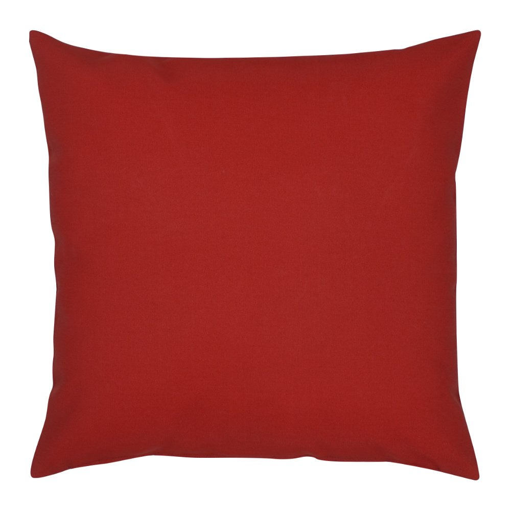 Red cushion cover features shiny golden yellow checks. Made from linen blend. It has a zipper for easy cover removal and cleaning. Bring some vivid colours to your home.