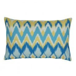 Image of rectangular cushion cover in blue and yellow chevron pattern