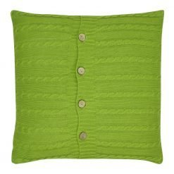 Image of olive buttoned cushion cover in cable knit fabric