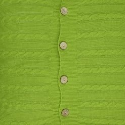 Close-up photo buttoned cable knit cushion cover in olive colour