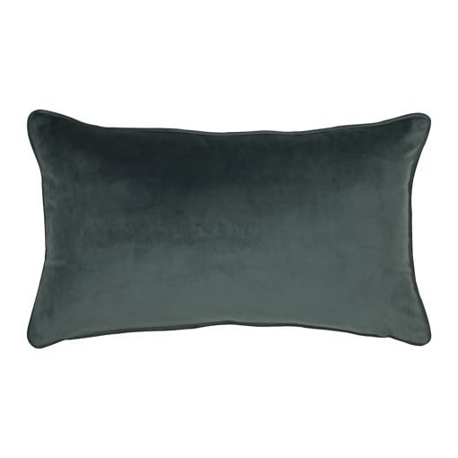 Rectangular velvet cushion in grey colour