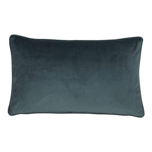 Image of rectangular velvet cushion cover in space grey colour