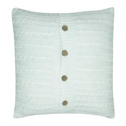 Photo of white cable knit cushion cover with buttons
