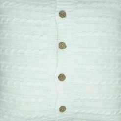 Additional close-up photo of white cable knit cushion cover with buttons