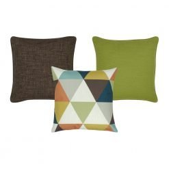 A collection of brown and lime coloured square cushions
