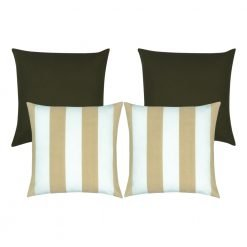 4 outdoor cushions with 2 dark brown in the background and two lighter brown striped ones in the front