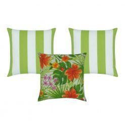 3 piece outdoor cushion collection including two lime green striped covers and a central feature cushion that has a floral green and orange print