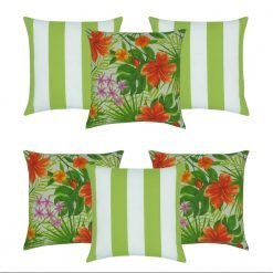 6 piece outdoor cushion collection that has three lime green striped outdoor cushions along with three bright tropical covers with green and orange floral design