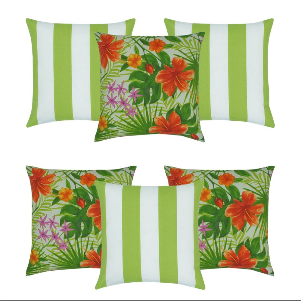 6 Piece Outdoor Cushion Collection That Has Three Lime Green Striped Outdoor Cushions Along With Three