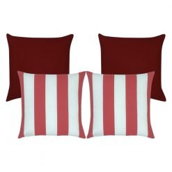 Charming four piece outdoor cushion collection that has two deep red cushion placed at the back and two from red and white striped covers in the front