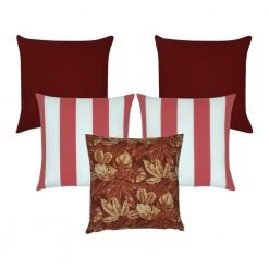 A mix of 5 piece outdoor cushion covers in red, leaf and stripe designs