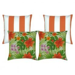 Four piece outdoor cushion cover collection that contains two orange and white stripe outdoor cushions in the rear and two bright green and orange floral designed cushions in the front