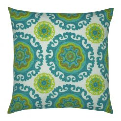 Moroccan inspired outdoor cushion cover in teal and lime coloured circular patterns