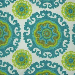Close up photo of teal and lime Moroccan inspired outdoor cushions