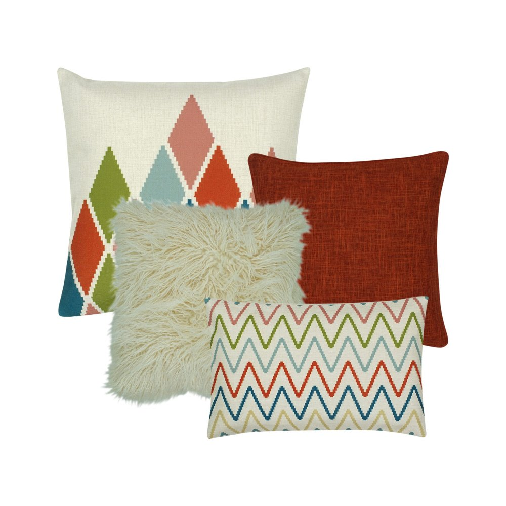 A mix of rectangular and square cushion covers with diamond and zigzag patterns