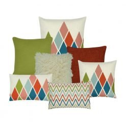 Red and green cushion cover collection of 7 with zigzag and diamond patterns