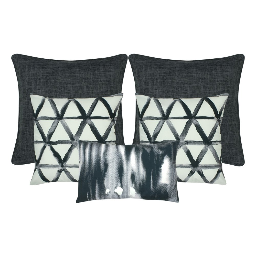 A mix of square and rectangular cushion covers in white and dark grey colours
