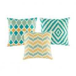 Set of 3 cushion covers with gold and teal chevrons