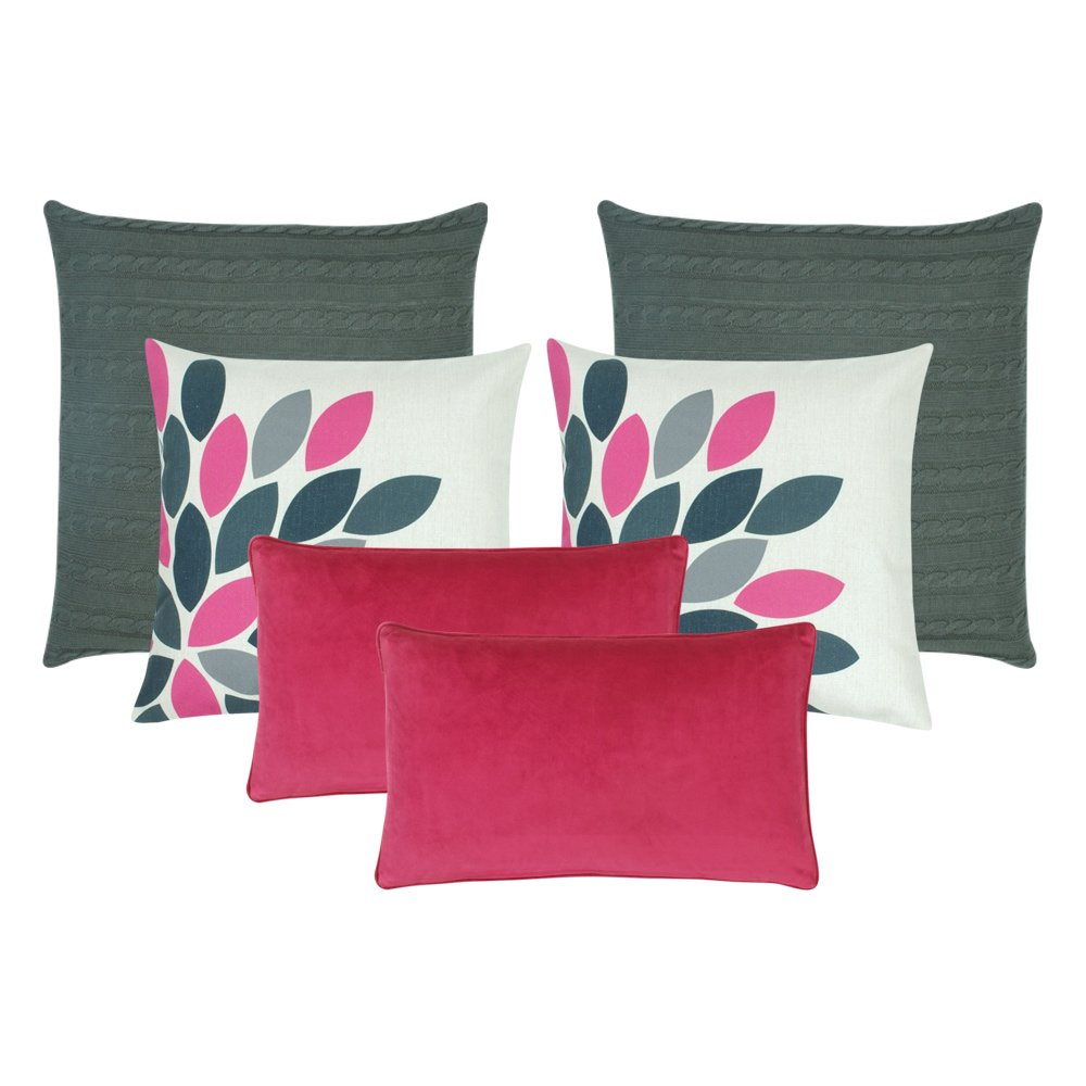 A set of six grey and pink cushions in square and rectangular shapes