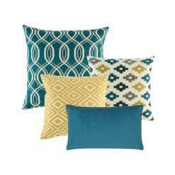 A set of 4 cushions in blue and gold colours