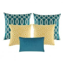 A collection of 5 square and rectangular cushion covers in blue and gold colours