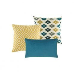 A mix of blue and yellow cushions with solid and diamond patterns
