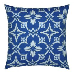 Image of square outdoor cushion cover with blue florals