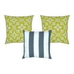 Lovely 3 piece outdoor cushion cover collection with two yellow covers with light white patterns and a front blue and white striped cushion