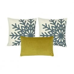 A set of three cushions covers in gold and blue colours
