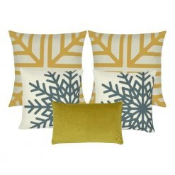 A mix of square and rectangular winter Christmas cushions with gold and blue snowflake design