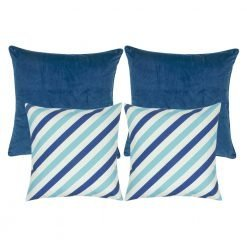 A set of four cushion covers in blue and white colours