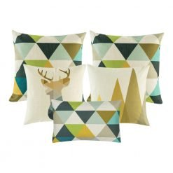 A collection of five colourful cushion covers with triangle and moose designs