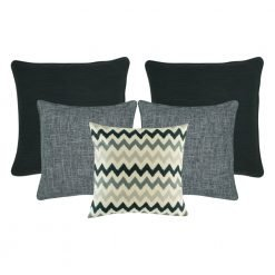A set of 5 cushion covers in grey colours