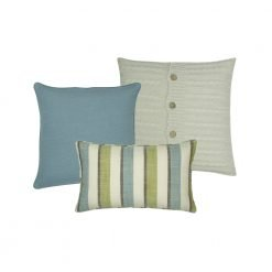 Collection of 3 cushion covers with blue and green colours