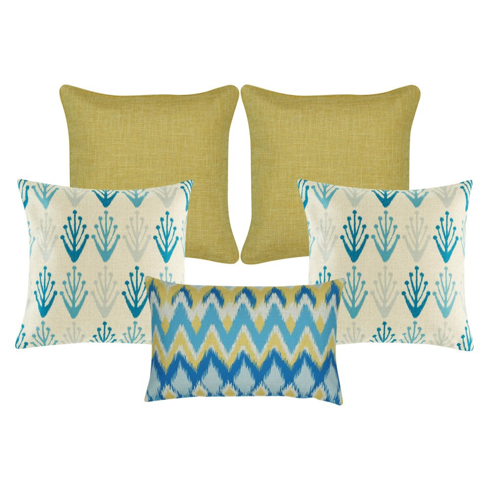A set of 5 cushions with solid modern floral and chevron patterns and in gold