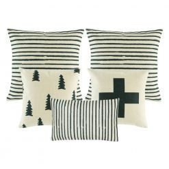 Image of 5 white and grey cushion covers with cross, pine and stripes design