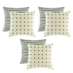 A set of 6 black and white cushion covers with linear and cross design