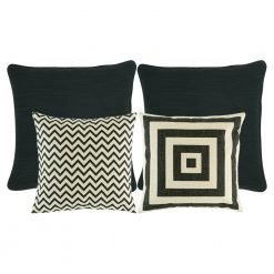 A collection of 4 cushion covers in black, dark grey and white colours
