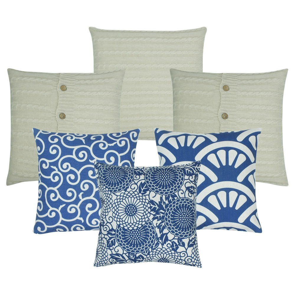 A set of 6 cushion covers in blue and white colours with floral, shell and wind patterns