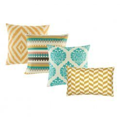 A collection of gold, teal cushion covers in square and rectangular design