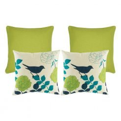 A photo of four, lime colour based square cushions