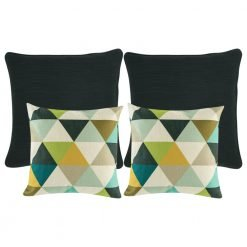A collection of 4 black and multi-coloured cushions