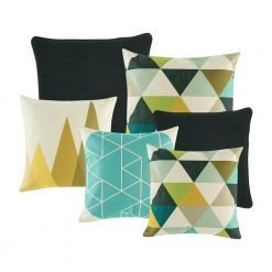 A set of 6 black and white cushions with triangle patterns