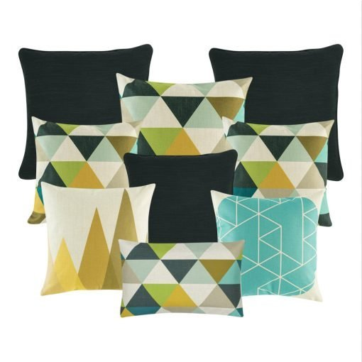 A mix of rectangular and square cushion covers in multi, black and white colours