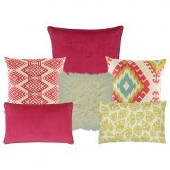 A collection of 6 fuchsia and yellow cushions with diamond and leaf designs